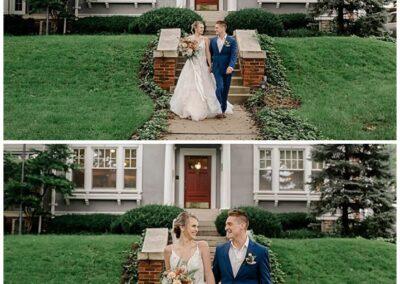 Bride & Groom Walking down path